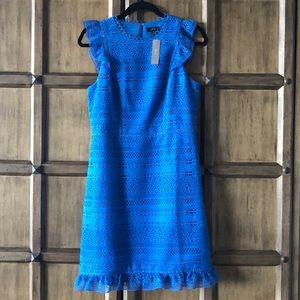 Ruffle Midi Dress in Cerulean Blue